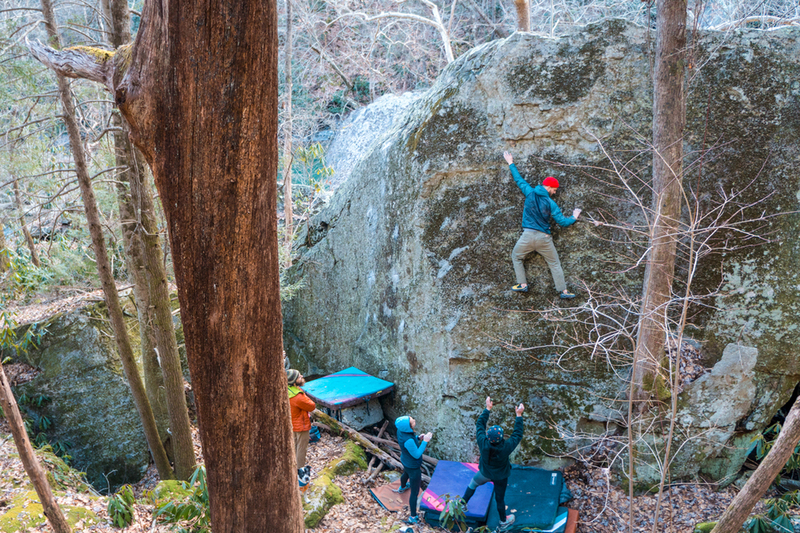 Climber Mitch Gardner putting on his Big Boy pants for the send of this awesome V1