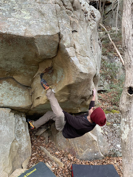 Ryan Booth on Heart Attack Jack (talus boulder)