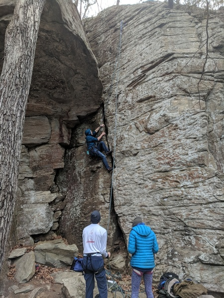 Arthur top roping trad crack shortly after a fun lead!