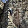 JM top roping Clark Bar Crack <br> Not pictured: The little bat that was peering out from the crack during my lead.