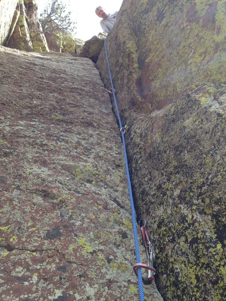 At the belay atop the 3rd pitch, fun crack.