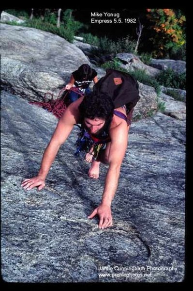 Mike Young (original member of The Red House Gang) barefoot'in the Empress slab in 1982. Jamie (Jim) Cunningham