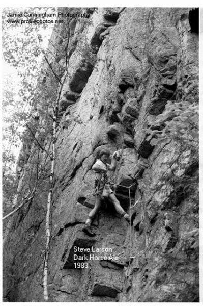 Steve Larson sending the first ascent of Dark Horse Ale, Upper Beer Walls, in 1983.  -Jamie (Jim) Cunningham