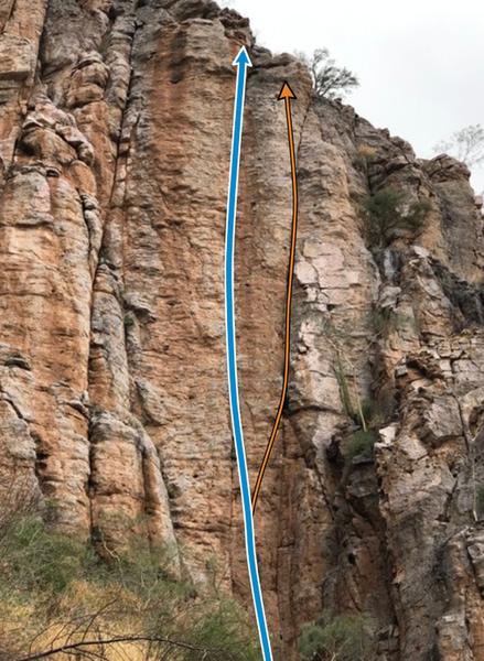 La ruta es la linea marcada con azul