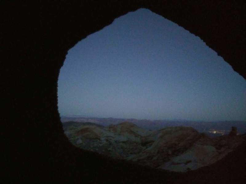 Night time window atop the third set of anchors on SE Passage