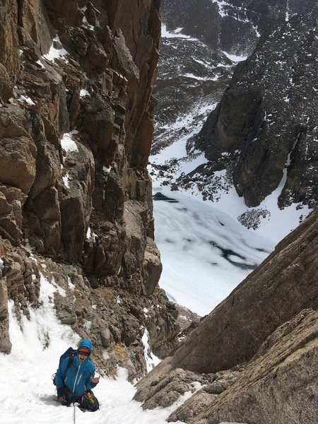 Looking down at Chasm right before it bottlenecks. Fixed cordelette wrapped around a horn. Josh Parsons, 2/02/19.