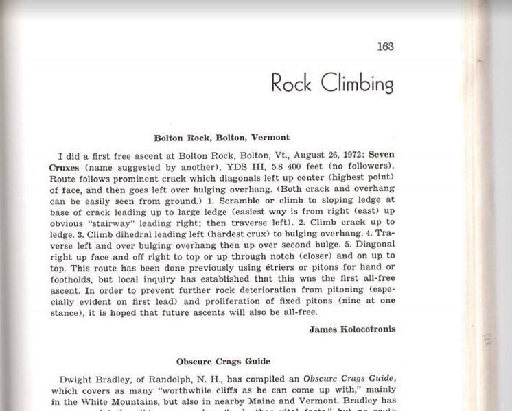 The original route description from 1972, published in Apalachia, 1973. Admittedly, 400 feet was a little bit of an exaggeration as Kolocotronis was known for, but it's still a great route!