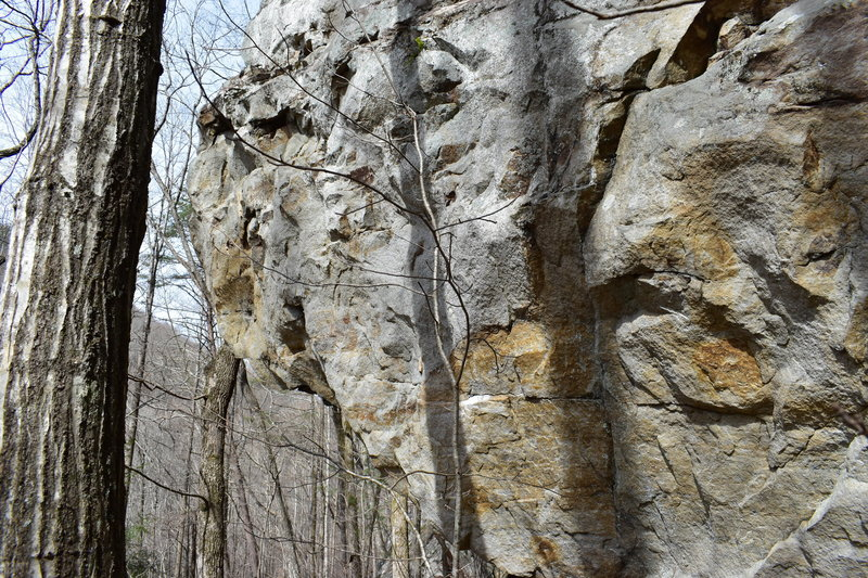 The face side of the arete where the problem begins.