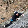 Working the finger crack at the top. Best part of the route in my opinion.