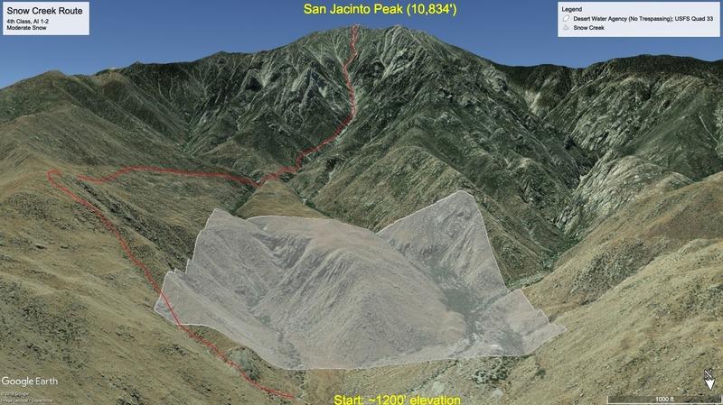 Snow Creek beta photo (Google Earth route overlay, showing no-trespassing area)