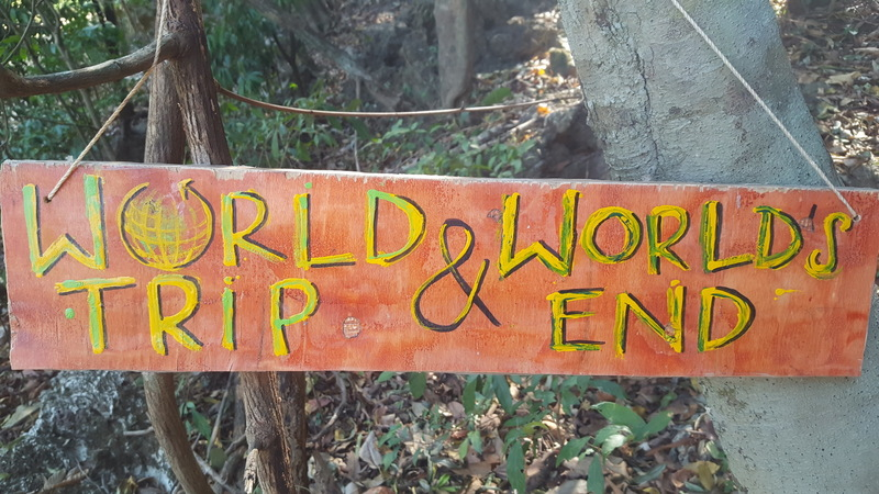 While walking down the road and keep an eye out for this sign to locate the trailhead for both worlds end and World trip.