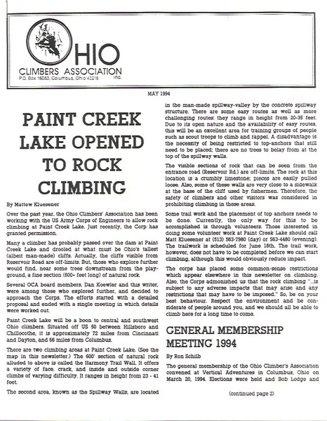OCA Newsletter Announcing Paint Creek Opening to Rock Climbing