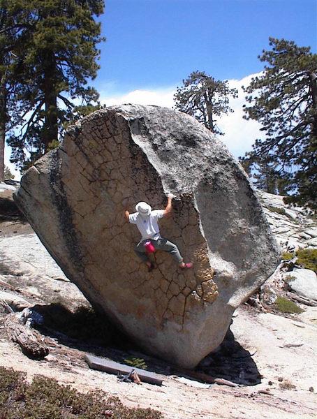 Kent Schmitz having fun bouldering at the Shaver Lake area.