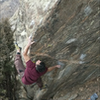 """Entering the crux off of the """"Spike pinch"""" down and right into the cool, left hand, loaf pinch on the arete."""