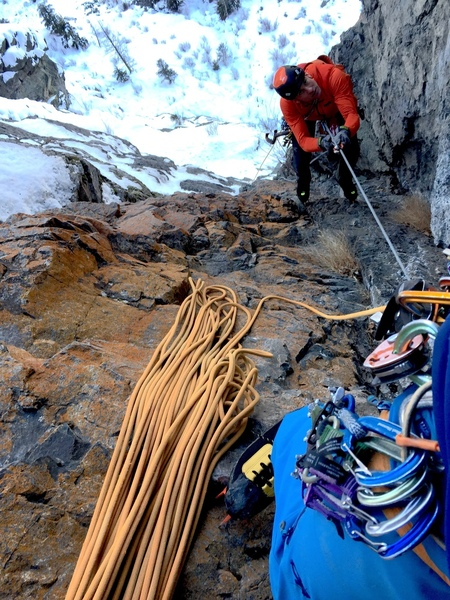Seth Keena-Levin jugs the line on pitch 6 during the development of the route: Photo Mark Allen