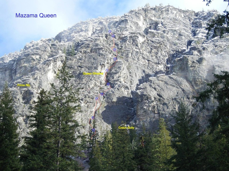 Goat wall near Goat Wall Creek showing Prime Rib, Mazama Queen, and the Czech Gully