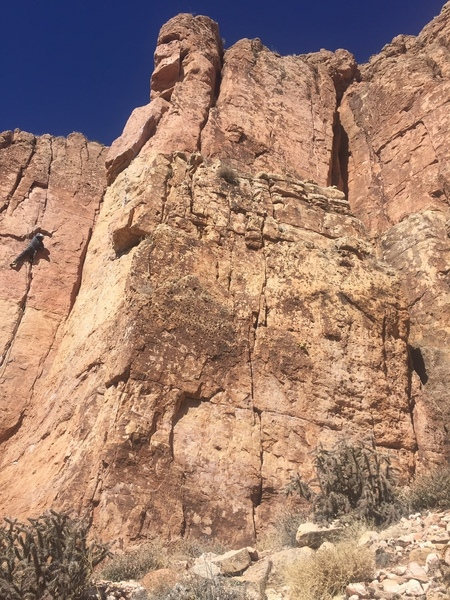 Nasty, just like Mr. Simmons. Only climb fully on the face, start on right of the base.