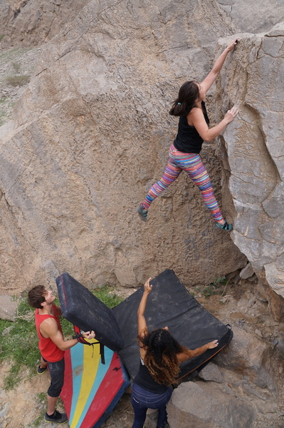 Dana giving the boulder some bloody love.