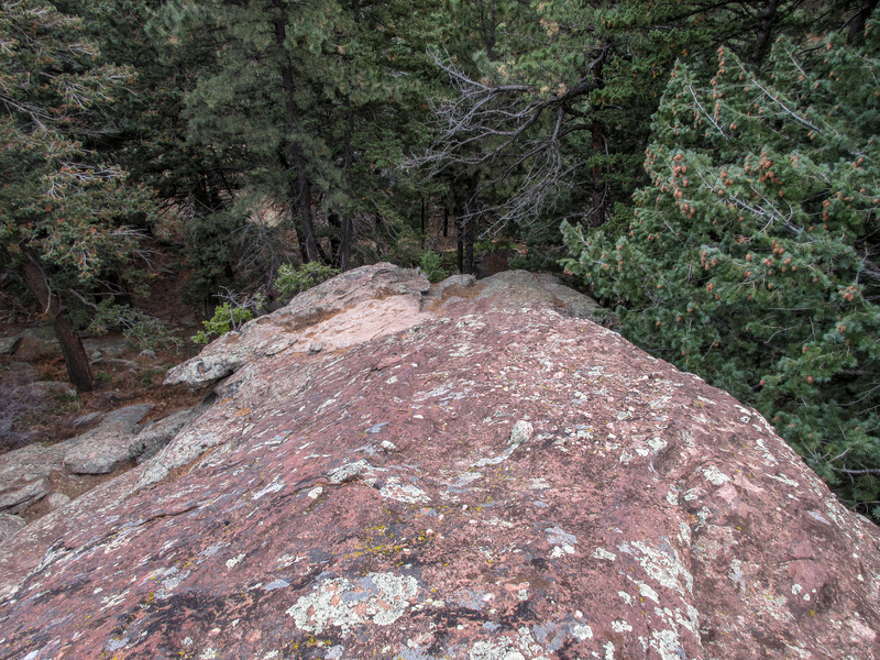 Looking back down the start of the Third Flatironette. Not a lot of big holds, mostly small feet and some pebbles and divots. The rest of the climb is easier.