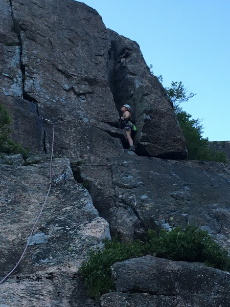 Photo was taken from the final belay bolts. Comfortable stances all the way up the chimney.