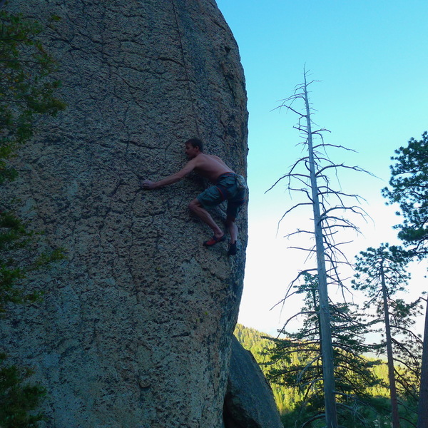 Chris L. on 5.11+ TR at Lost Eagle Dome.