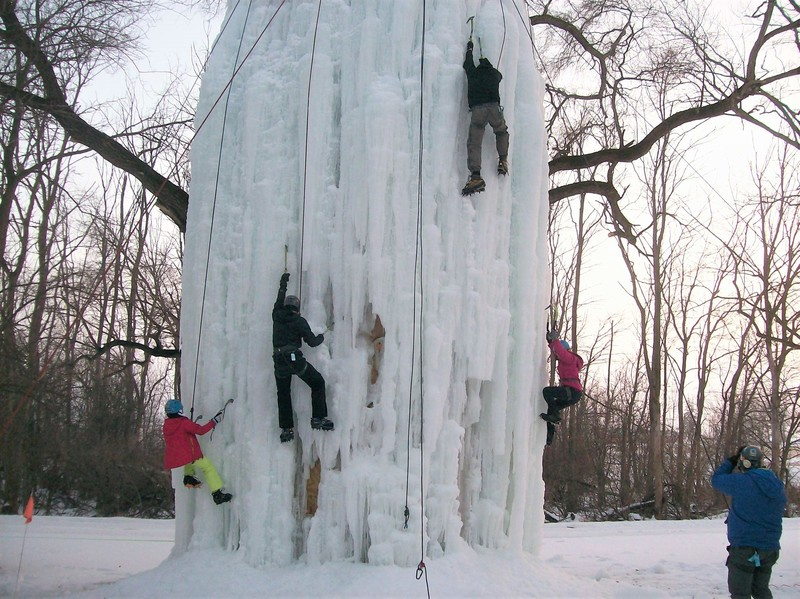 32 foot ice climbing tower- gear available- leading allowed when conditions permit