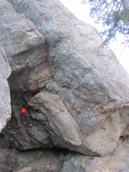 Fires of Passion V5 works stand starts on the crimps and works the ledge to its end and then transitions into the crack. Despite trying to jam. It is easy to get a hand in and then immediately throw a heel hook into the crack and work the outer crimps.