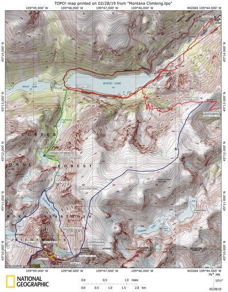 Approach map to Granite Peak.