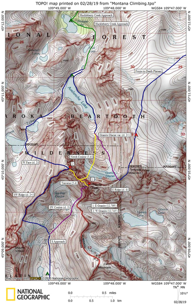 Map of the various routes on Granite Peak.