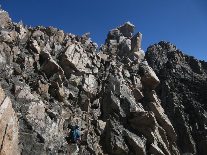 Charlotte leading the way traversing from West Granite Peak to Granite Peak.