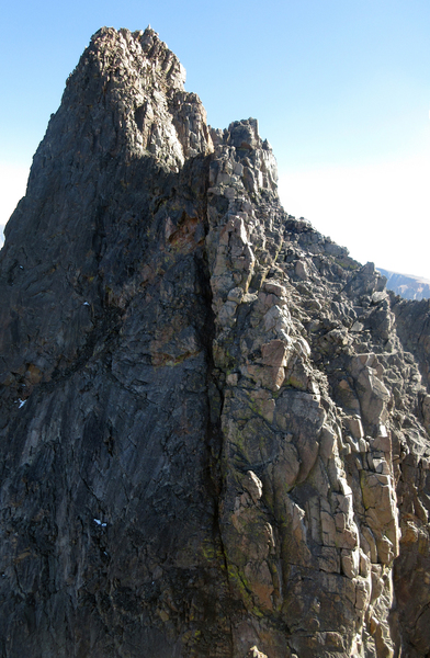 The ass crack of Granite Peak (aka. the crux chimney of the traverse).