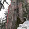 Topo of Cloud Drifter (red) in relation to other climbs on Cloud Buttress (gray)