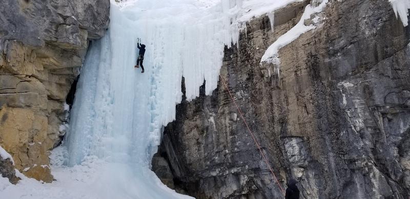 Climbing the main ice wall.