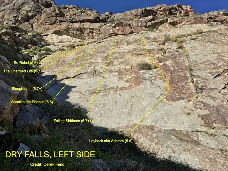Routes on the far left side of the main wall at Dry Falls.