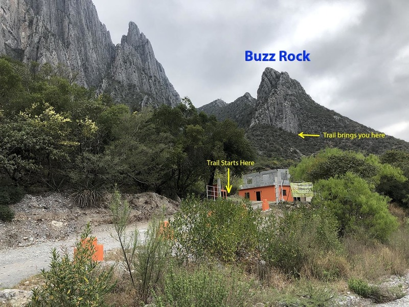 "Just inside the gate of ""La Cueva del Jabali"", turn left and start up the good trail to the base of Buzz Rock"
