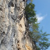 A great route with a sustained crux section.