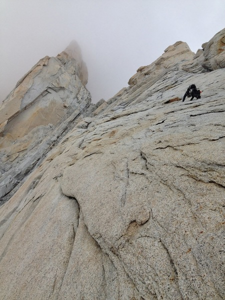 Peter Pribik in the central slabs, headed up into the clouds