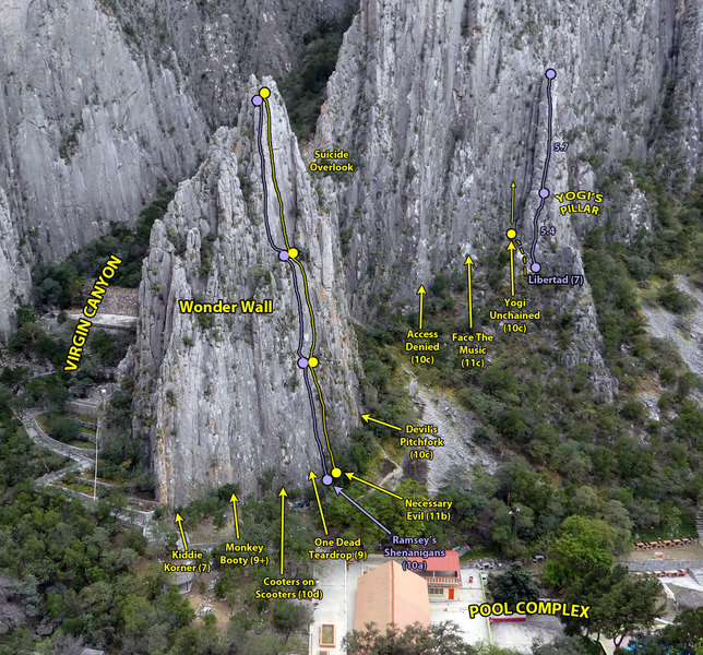 A few of the routes on the Wonder Wall and the left side of El Mirador