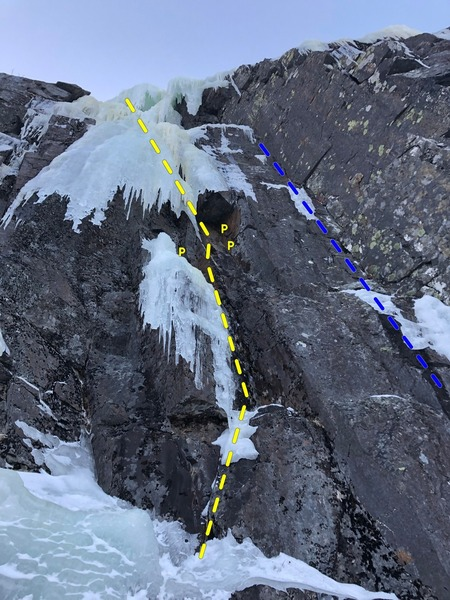 The Damsel in Feb 2019 (yellow). Blue = unnamed drytooling corner; some bail pitons/tat along the way.