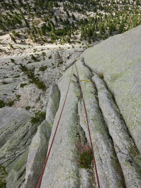 Looking down from the top of the 8th pitch. Grooves on the arete... fun and airy.
