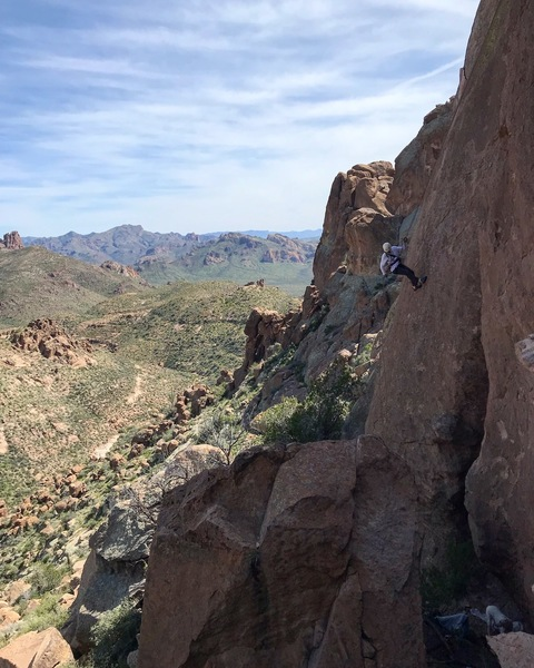 Rappelling down from the Bronc.