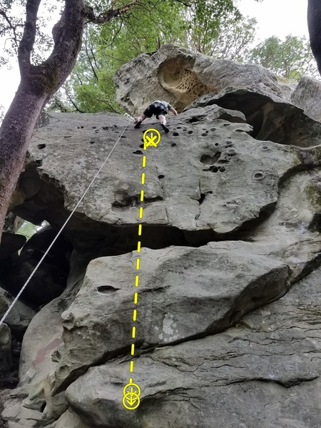 Ryan Barr climbing Viscious Circles 5.10c on the left and to the right is Blowing Bubbles 5.10a. Easy TR setup for both, just approach from base of Donkey Kong route.