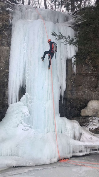 Zach on the rappel.  Ice is in fantastic shape 3/8/2019