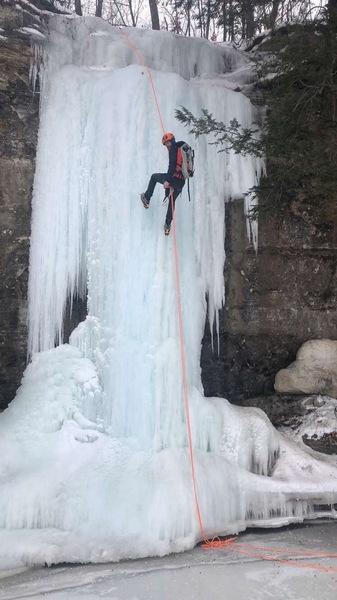 Zach on the rappel.  Ice is in fantastic shape 3/8/2019