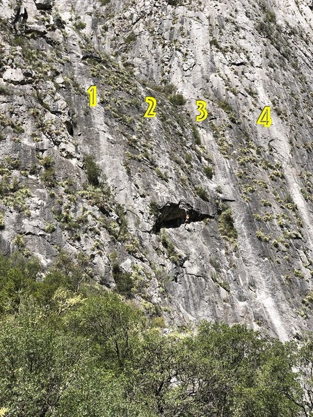 The main routes on the left side of the Jungle Wall. 1=Las Chimuelis, 2=Jungle Boy, 3=Jungle Mountaineering, 4=Yankee Clipper