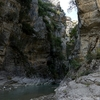 Location of the climbing routes at Lengarica - both sides of the river but mostly in the scoop to the right.
