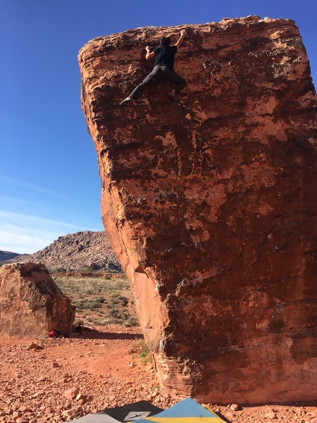 Cruising up perfect poser in March 2019. Quite the high boulder