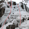 "I think UK Garage and Oompa Loompa are covered incorrectly on MP. Based on the Ouray Ice Park guide & descriptions for the ""between Stubby & Oompa Loompa"" I have annotated the lines in this recent photo taken from the base."