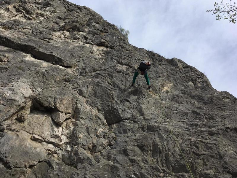 Line is where the rope is. photo of me on the way down.