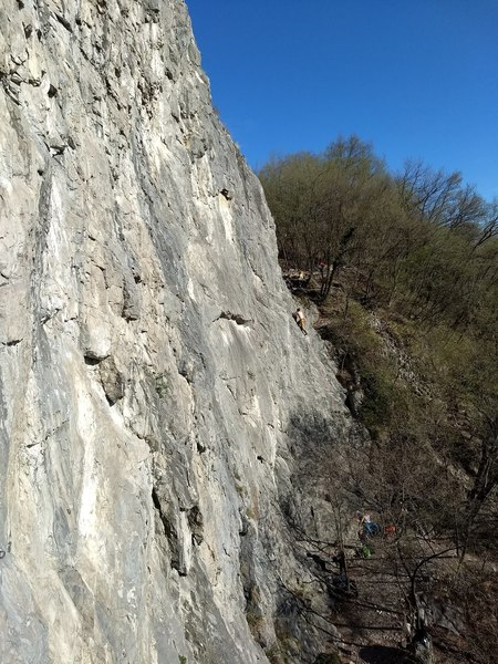 The route is I believe about 12' left of the climber in this photo